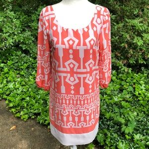 Dresses & Skirts - Orange & Ivory Geometric Shift Dress